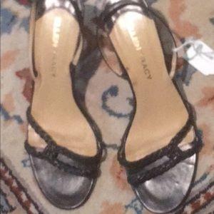 Ellen Tracy black braided sling sandal 7.5 M